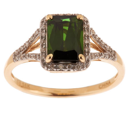1.25 cts Green Tourmaline & Diamond Ring 14K Gold