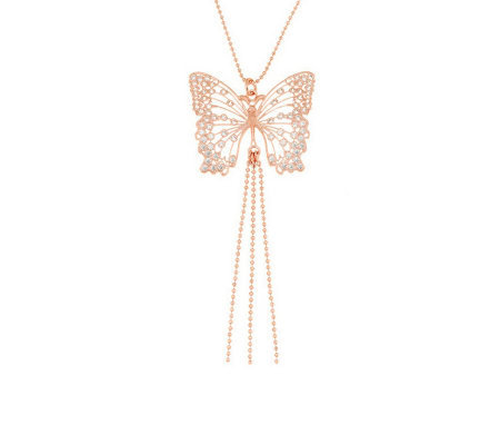 Vicenza Silver Sterling Diamonique Butterfly Pendant w/Chain