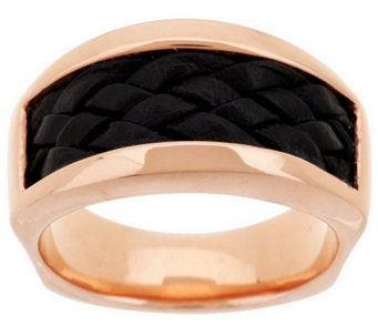 Bronze Braided Leather Inlay Band Ring by Bronzo Italia - J284675