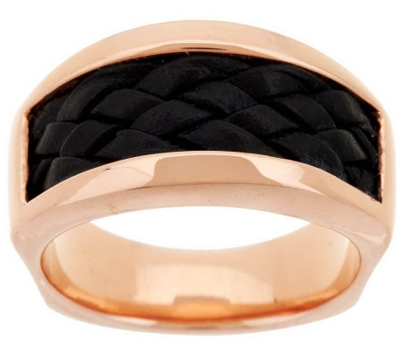 Bronze Braided Leather Inlay Band Ring by Bronzo Italia