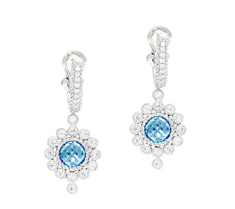Judith Ripka Sterling 3.00 ct tw Blue Topaz Drop Earrings - J293275