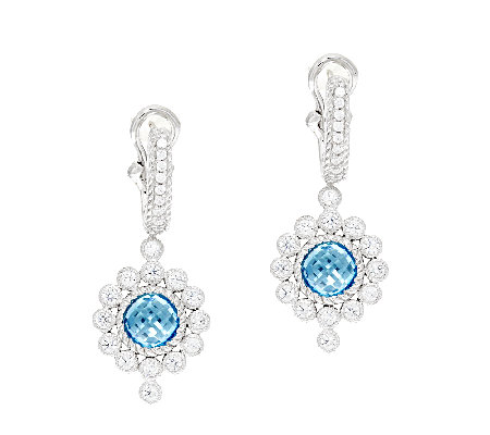 Judith Ripka Sterling 3.00 ct tw Blue Topaz Drop Earrings