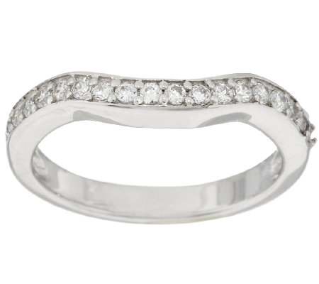 Diamonique Band Ring, Platinum Clad