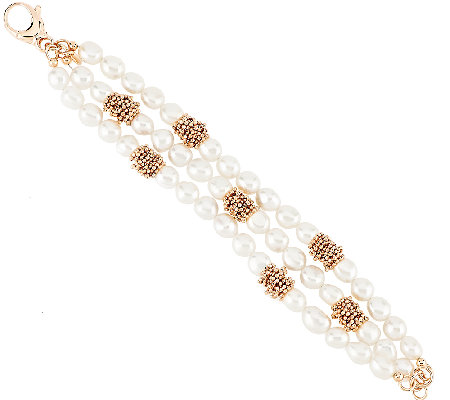 Honora Cultured Pearl 8.0mm Multi-strand Bronze Bracelet