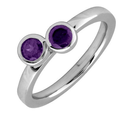 Simply Stacks Sterling & Amethyst Double CircleRing