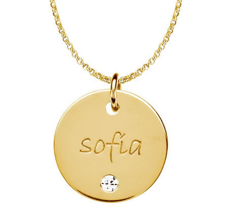 Posh Mommy 18KGold-Pltd Med Disc SimBirthstonePendant w/Chain