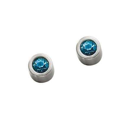 Stainless Steel Blue Cubic Zirconia Stud Earrings