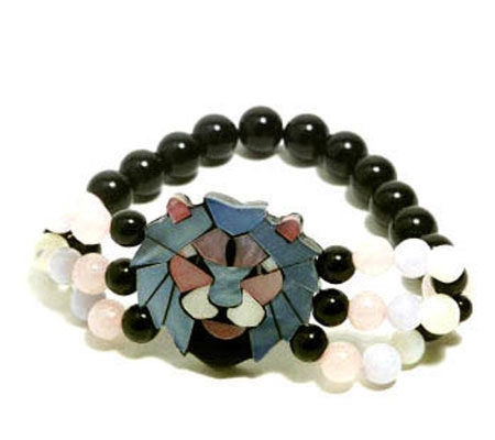 Lee Sands Lion Inlay Stretch Bracelet