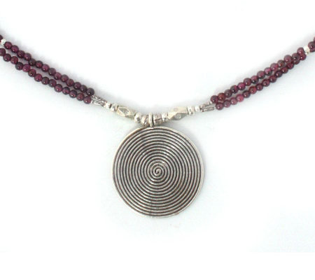 Novica Artisan-Crafted Sterling Garnet Necklace