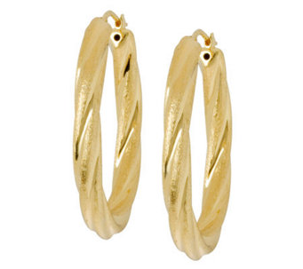 "Veronese 18K Clad 1-1/2"" Oval Satin & PolishedHoop Earrings - J304675"