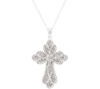 "Crystal Cross Pendant w/ 18"" Chain by Silver Style - J319875"