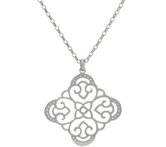 "Sterling Silver Open Work Pendant w/26"" Chain by Silver Style - J322275"