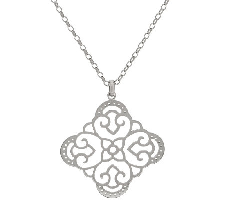 "Sterling Silver Open Work Pendant w/26"" Chain by Silver Style"