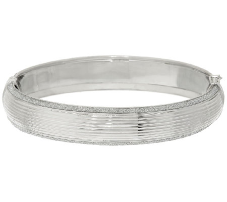 VicenzaSilver Sterling Small Pave' Glitter Ribbed Bangle Bracelet