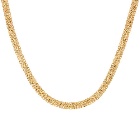 "14K Gold 16"" Domed Mirror Byzantine Necklace, 12.4g"