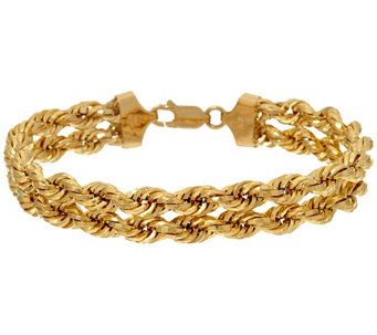 "14K Gold 6-3/4"" Polished Double Rope Bracelet, 6.3g - J324575"