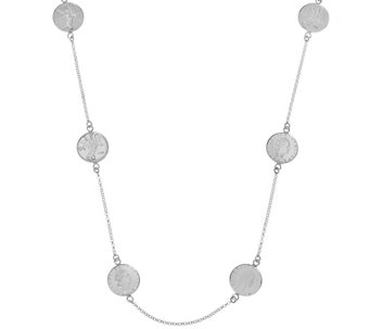 "Vicenza Silver Sterling 50 Lire Coin 24"" Station Necklace - J325075"