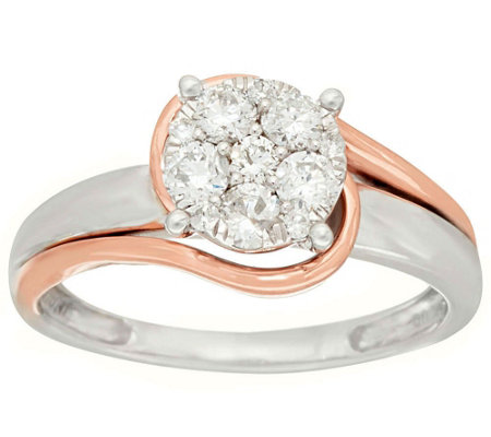 """As Is"" Two-Tone Swirl Cluster Diamond Ring, 14K,1/2ct tw by Affinity"