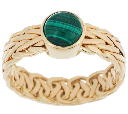 """As Is"" 14K Gold Malachite Woven Wheat Design Ring"