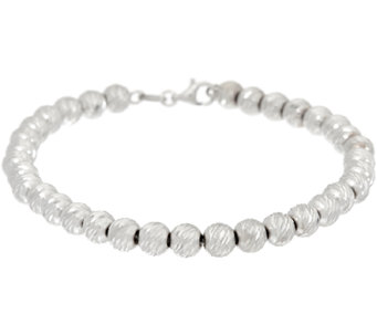 "Vicenza Silver Sterling 8"" Diamond Cut Bead Bracelet, 7.9g - J326675"