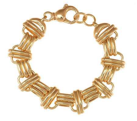 """As Is""Veronese 18K Clad 7-1/4"" Bold Polished Status Link Bracelet"