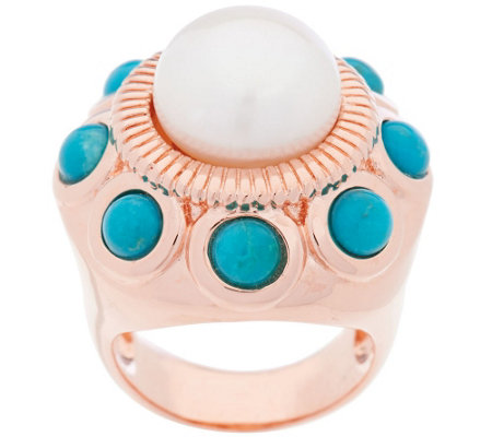 """As Is"" Honora Cultured Pearl 11.0mm & Turquoise Bronze Ring"