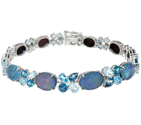 """As Is"" Australian Opal Triplet & Blue Topaz 8"" Tennis Bracelet"