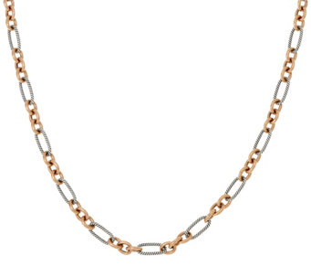 "Carolyn Pollack Sterling Silver & Brass Opulence 18"" Link Necklace - J329175"