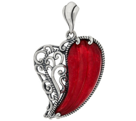 Carolyn Pollack With Love Sterling Carved Heart Enhancer
