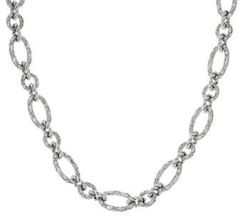 "JAI Sterling 82.0g 20"" Croco Texture Link Necklace - J329475"