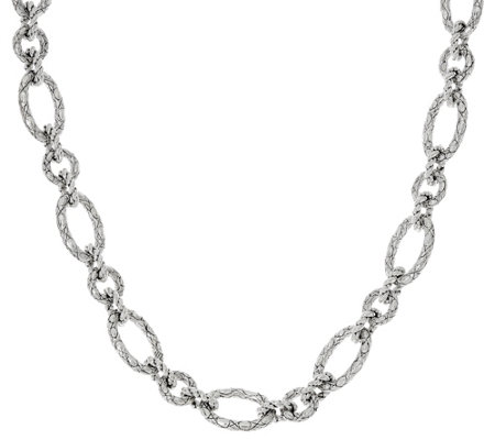 "JAI Sterling 82.0g 20"" Croco Texture Link Necklace"