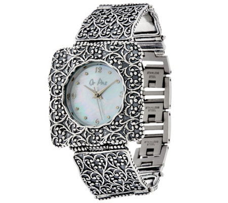 Or Paz Sterling Silver Square Face Watch 35.0g