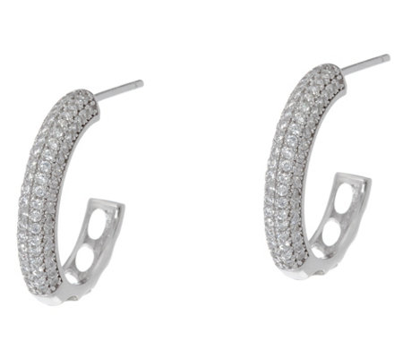 Diamonique Pave' Hoop Earrings, Sterling or 14K Plated