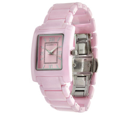 """As Is"" Isaac Mizrahi Live! Ceramic Rectangular Dial Watch"