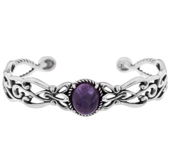 """As Is"" Carolyn Pollack Scroll Design Charoite Sterling Cuff - J330975"