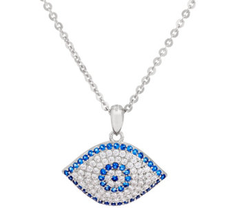 Diamonique Evil Eye Pendant w/ Chain, Sterling - J331375