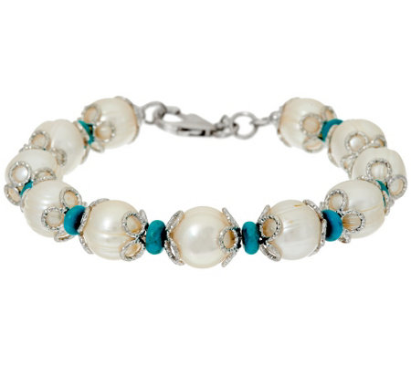"""As Is"" Honora Cultured Pearl 11.0mm and Turquoise Bronze Bracelet"