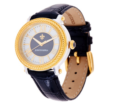 """As Is"" Judith Ripka Two-tone Diamonique Stainless Steel & Leather Watch"