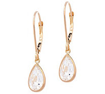 """As Is"" Diamonique 3.00 cttw Pear Leverback Earrings, 14K - J334675"