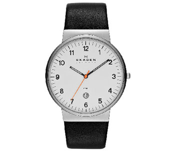 Skagen Men's Black Leather Strap Watch - J336275
