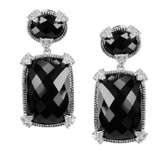 Judith Ripka Sterling Black Onyx & Diamonique Drop Earrings - J336375