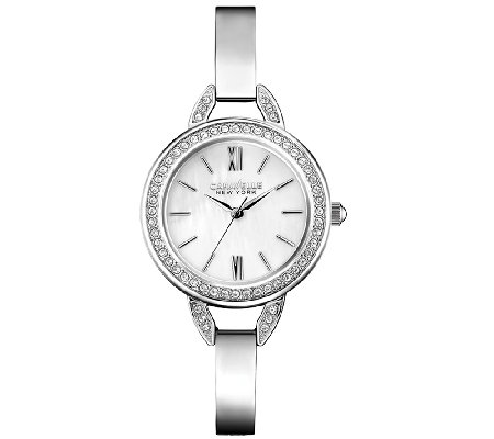 Caravelle New York Crystal & Stainless Steel Bracelet Watch