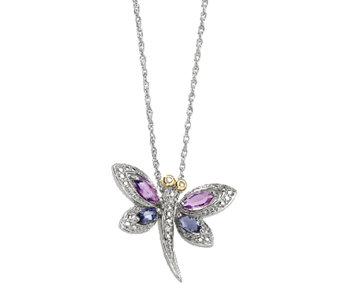 "Sterling 18"" Amethyst & Iolite Dragonfly Necklace - J336775"