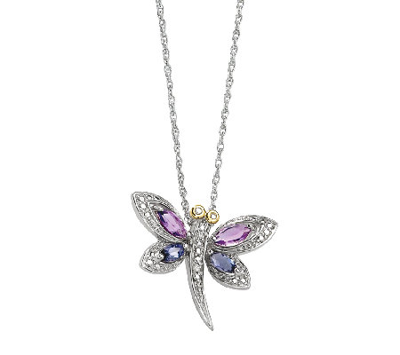 "Sterling 18"" Amethyst & Iolite Dragonfly Necklace"