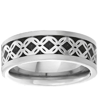 Men's Titanium Band Ring w/Silvertone Braided Inlay - J337875