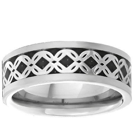 Men's Titanium Band Ring w/Silvertone Braided Inlay