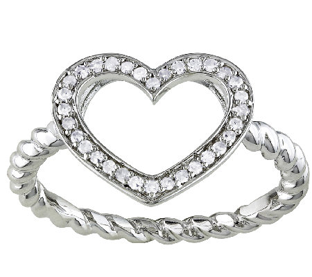 Diamond Open Heart Ring, 1/8cttw, Sterling, b yAffinity