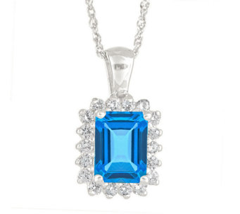 Premier Emerald Cut 1.60cttw Blue Topaz & Diamond Pendant, 14 - J338275