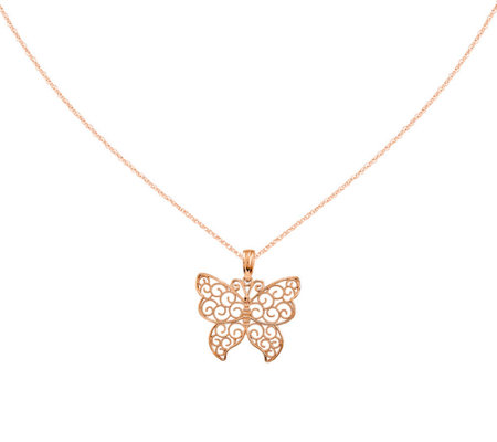 "Open Scroll Butterfly Pendant w/ 18"" Chain, 14K"