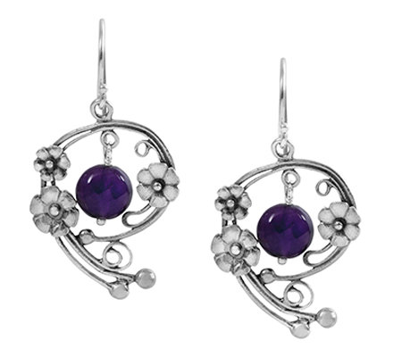 Sterling Silver 3.00 cttw Amethyst Floral Earrings by Or Paz